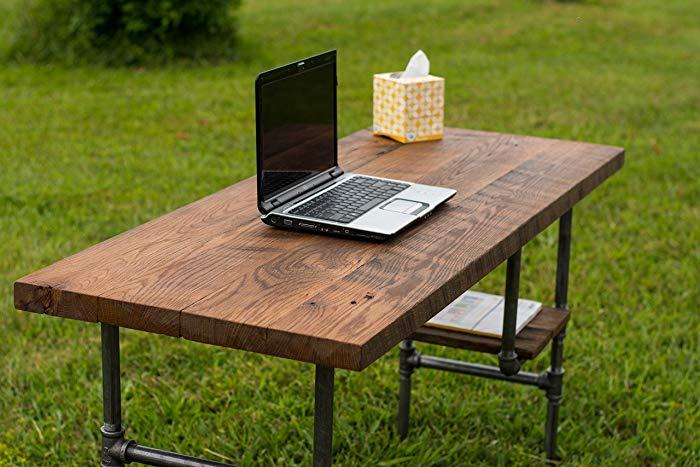 Amazon.com: Reclaimed Wood Desk Table - Rustic Solid Oak W/28