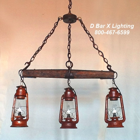 DX753 - Rustic kitchen light with Single Tree and Hanging Lanterns