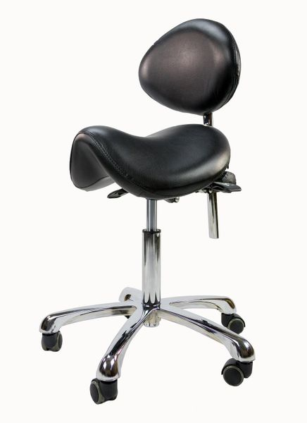 Spa Luxe Rolling Saddle Stool Chair with Back Support