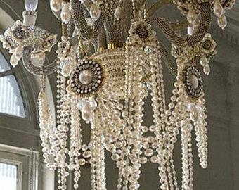 Shabby chic chandelier | Etsy