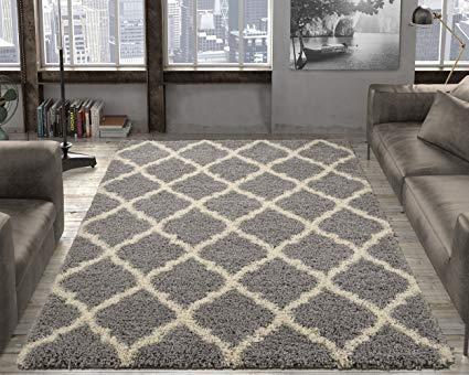 Amazon.com: Ottomanson Collection shag Trellis Area Rug, 7'10