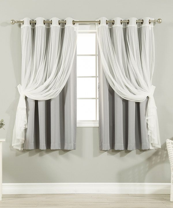 Look at this Gray Tulle Blackout Short Curtain Panel - Set of Four