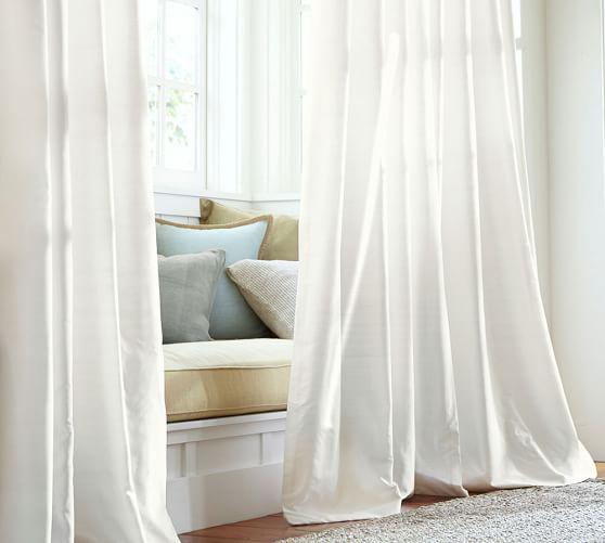 Dupioni Silk Pole-Pocket Curtain - Brownstone | Pottery Barn