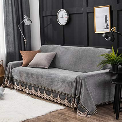 Amazon.com: Plush sofa slipcover,1-piece vintage lace suede couch