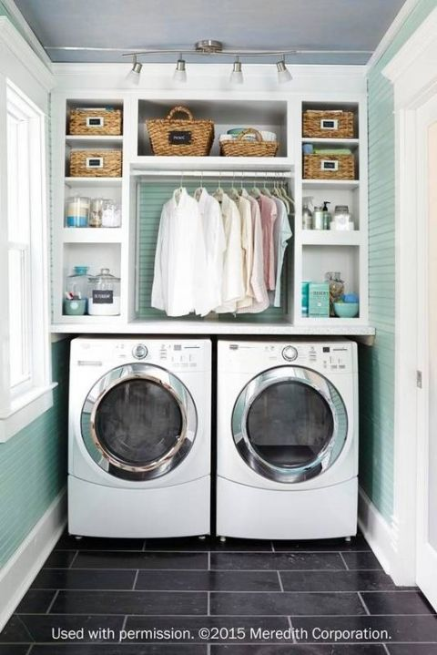 Beautifully Organized Small Laundry Rooms | Guest Bath | Laundry