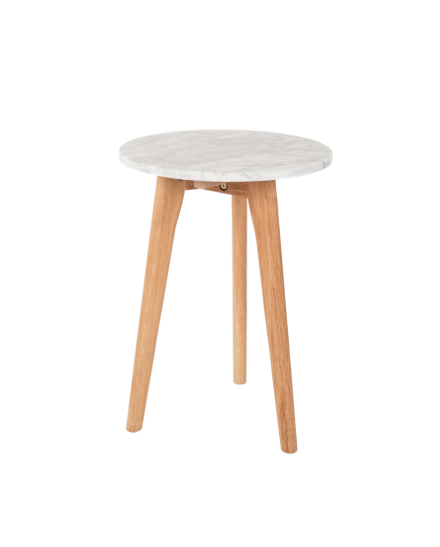 White Small Stone Side Table - Marble Contemporary Accessory