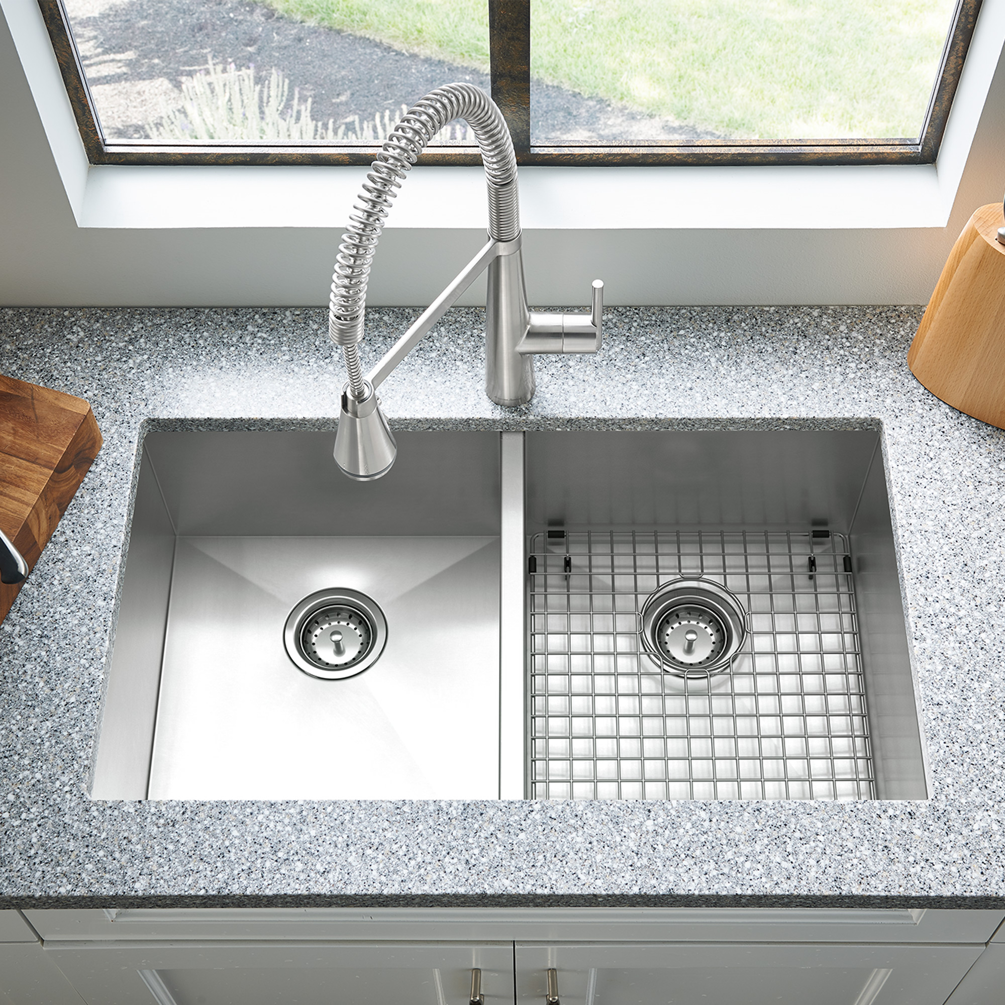 Edgewater 33x22 Double Bowl Stainless Steel Kitchen Sink | American