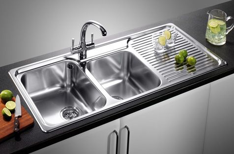 Kitchen Sink with drip tray. Love rectangle sinks that are wide