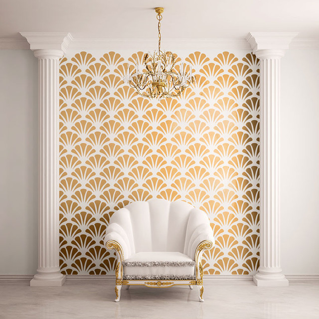 Scallop Shell Pattern Wall Stencil for Painting - Contemporary