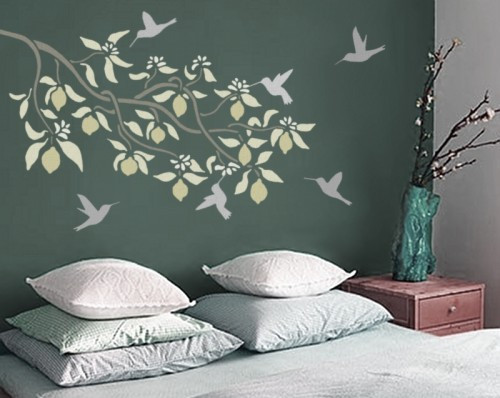 Blooming LEMON Branch WALL STENCIL, Reusable EASY DIY Stenciling