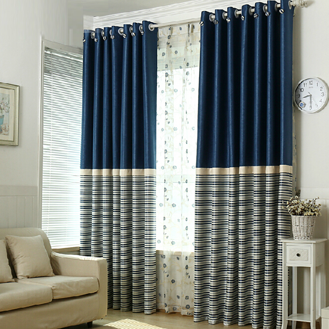 Simple Navy Polyester Blackout Striped Curtains
