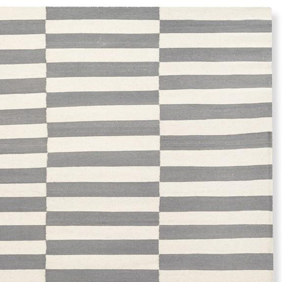 Broken Stripe Flatweave Rug, Grey | Williams Sonoma