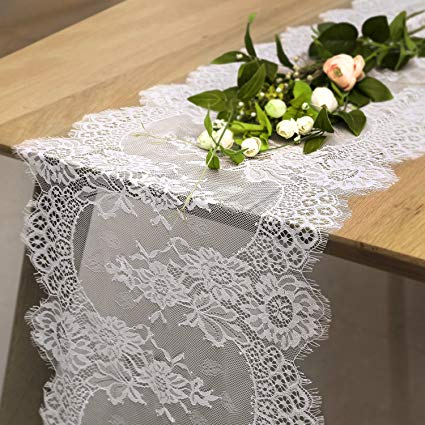 Amazon.com: B-COOL Vintage White Lace Table Runner Overlay Exquisite