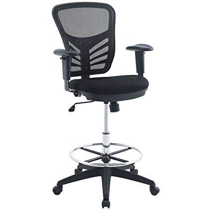 Amazon.com: Modway Articulate Drafting Chair In Black - Reception