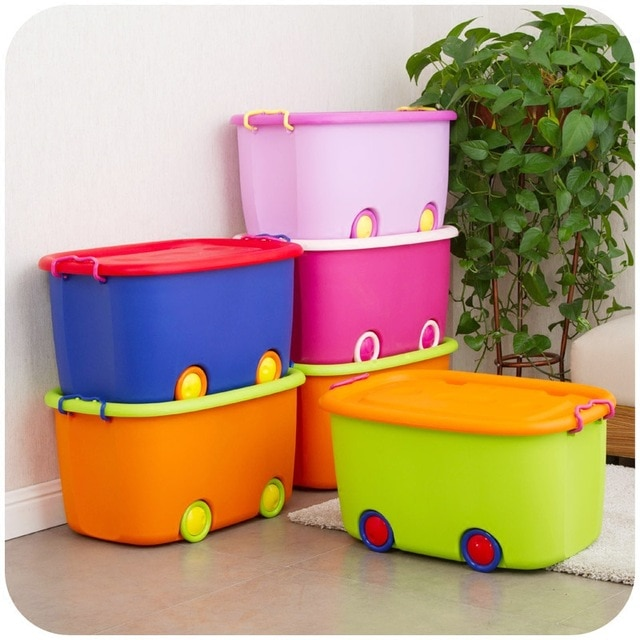 Children's toy storage box cute cars Queen wheeled plastic storage