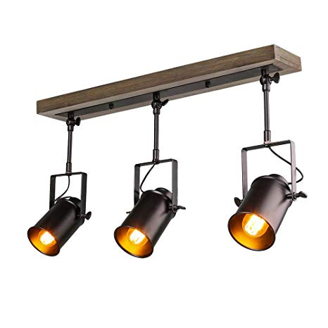 LNC Adjustable Track Industrial Wood Canopy 3-Light for Ceiling and
