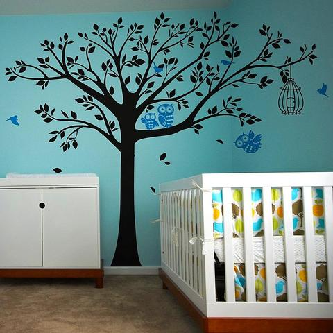Nursery Tree with Cute Owls-Wall Decal