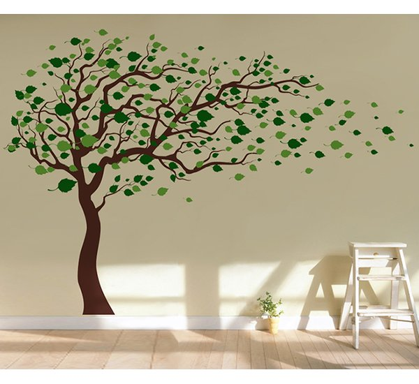 Pop Decors Tree Blowing in The Wind Wall Decal & Reviews | Wayfair