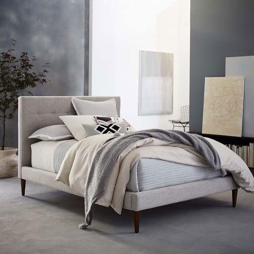 Grid-Tufted Upholstered Tapered Leg Bed | west elm