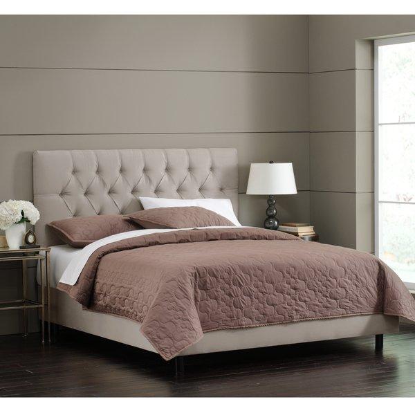 Shop Skyline Furniture Light Grey Velvet Tufted Bed - On Sale - Free