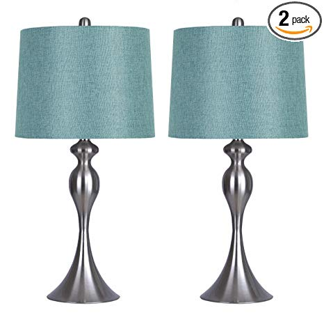 Grandview Gallery Table Lamps with Turquoise Shade, Set of 2 - Linen