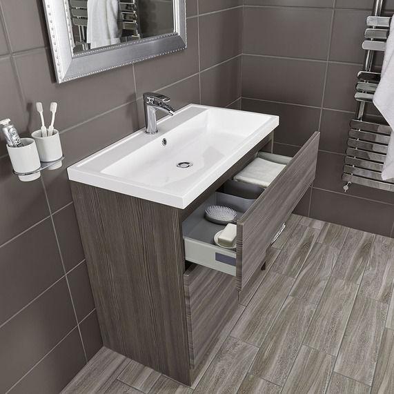 Vermont 800 Basin And Grey Avola Floor Standing Vanity Unit | bathstore