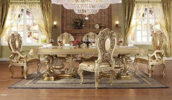 HD 8016 Classic Gold Finish Dining Set Homey Design Victorian