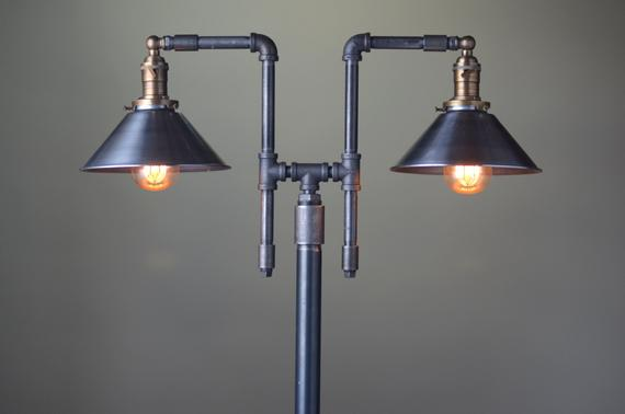 Vintage Floor Lamp Industrial Style Lighting Iron Pipe | Etsy