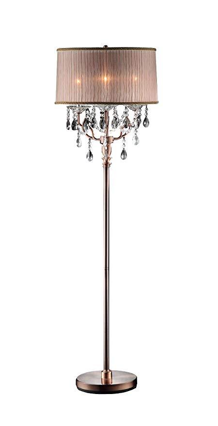 OK LIGHTING OK-5126F OK-5126f Rosie Crystal Floor Lamp Deer Antler