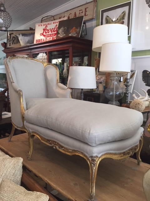 19TH C Gilded Chaise Reupholstered in Linen u2014 Ruby Beets