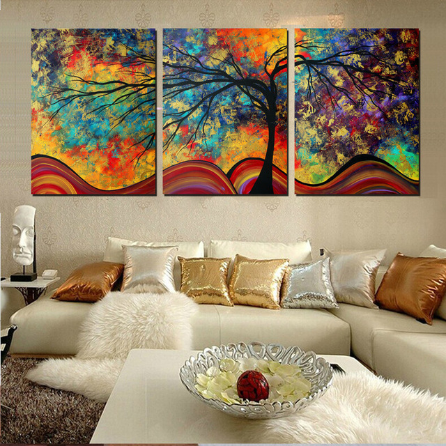 Large Wall Art Home Decor Abstract Tree Painting Colorful Landscape