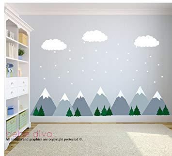 Amazon.com: Mountain Scene Wall Decals, Wall Decals Nursery, Kids