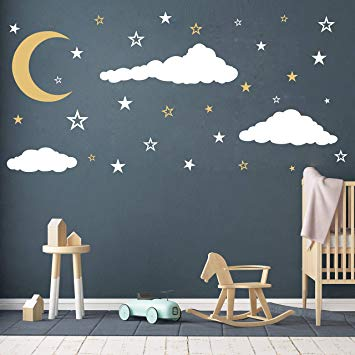 Amazon.com: Moon, Stars and Clouds Wall Decals, Kids Wall Decoration