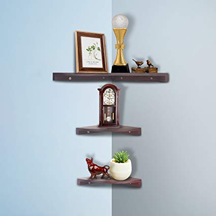 Amazon.com: Yankario Solid Walnut Wood Corner Floating Shelves Wall
