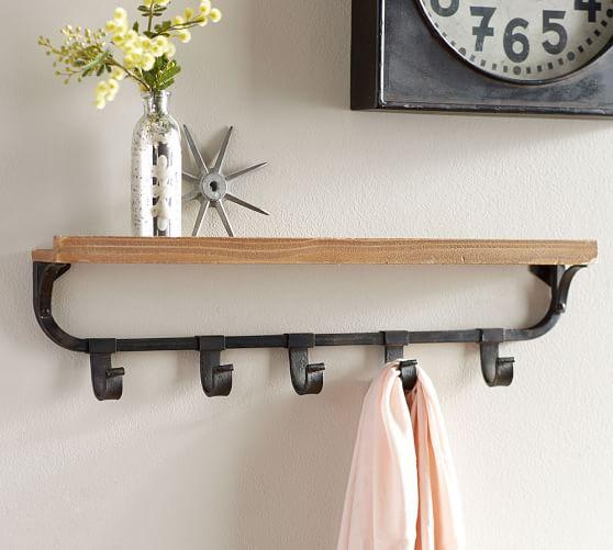 Wall Shelf with Flat Iron Hooks | Pottery Barn