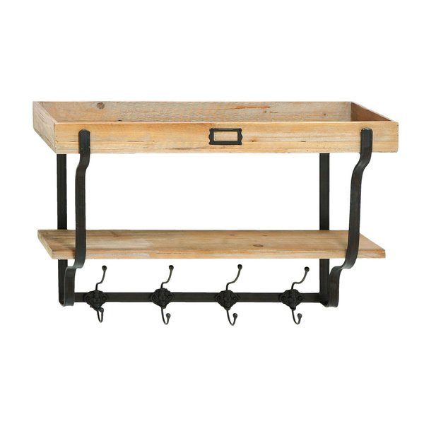 Shop Functional Multilevel Wall Shelf with Hooks - On Sale - Free