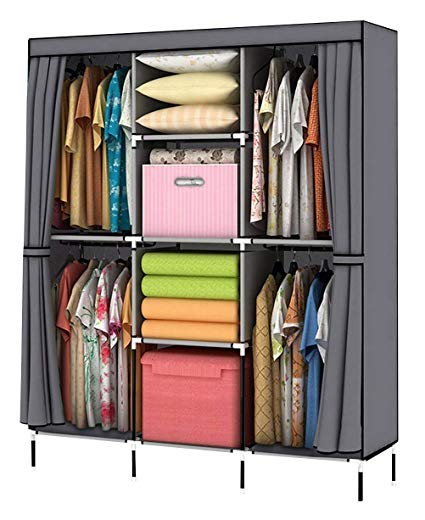 Amazon.com: YOUUD Wardrobe Storage Closet Clothes Portable Wardrobe