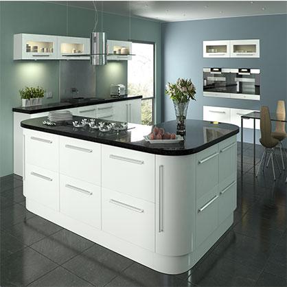 Lumi White Gloss, High Gloss Replacement Kitchen Doors | TopDoors