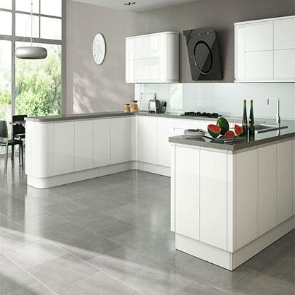 Larissa White Gloss Doors, Handleless Kitchen Cabinet Doors | TopDoors