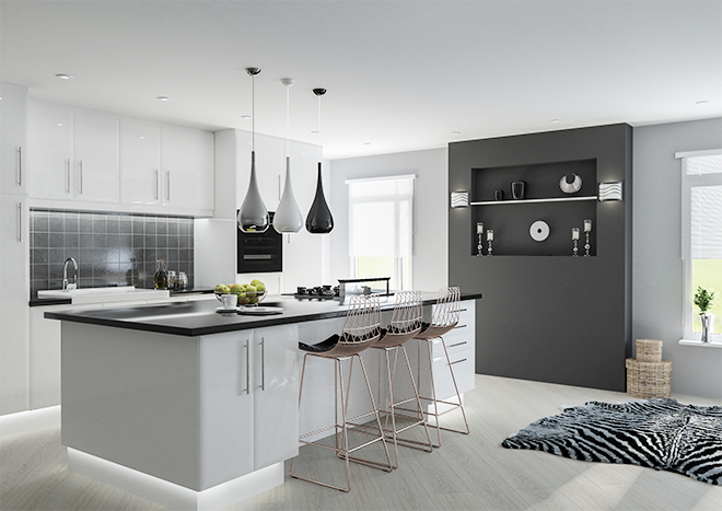 Setting a White Gloss Kitchen in Modern   Style