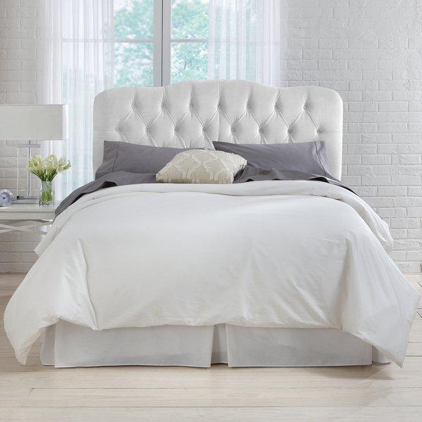 Shop Skyline Furniture White Velvet Tufted Headboard - Free Shipping