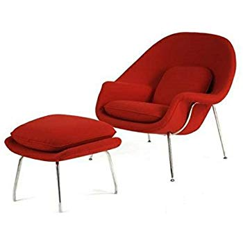 Amazon.com: Mid Century Saarinen Style Womb Chair and Ottoman - Red