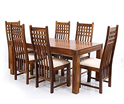 LifeEstyle Sheesham Wood Dining Table with 6 Chair (Brown, Standard