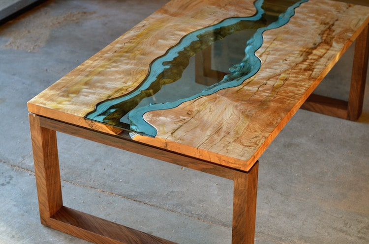 Nature-Inspired Furniture Design Features Blue Glass Rivers and Lakes