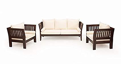 Woodkartindia Sheesham Wood Sofa Set with Cushion 5 Seater, 3+1+1
