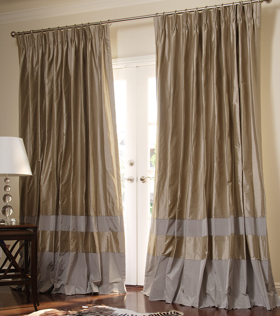 ... double bordered contempory custom drapes in pebble + pewter QGLJFWA