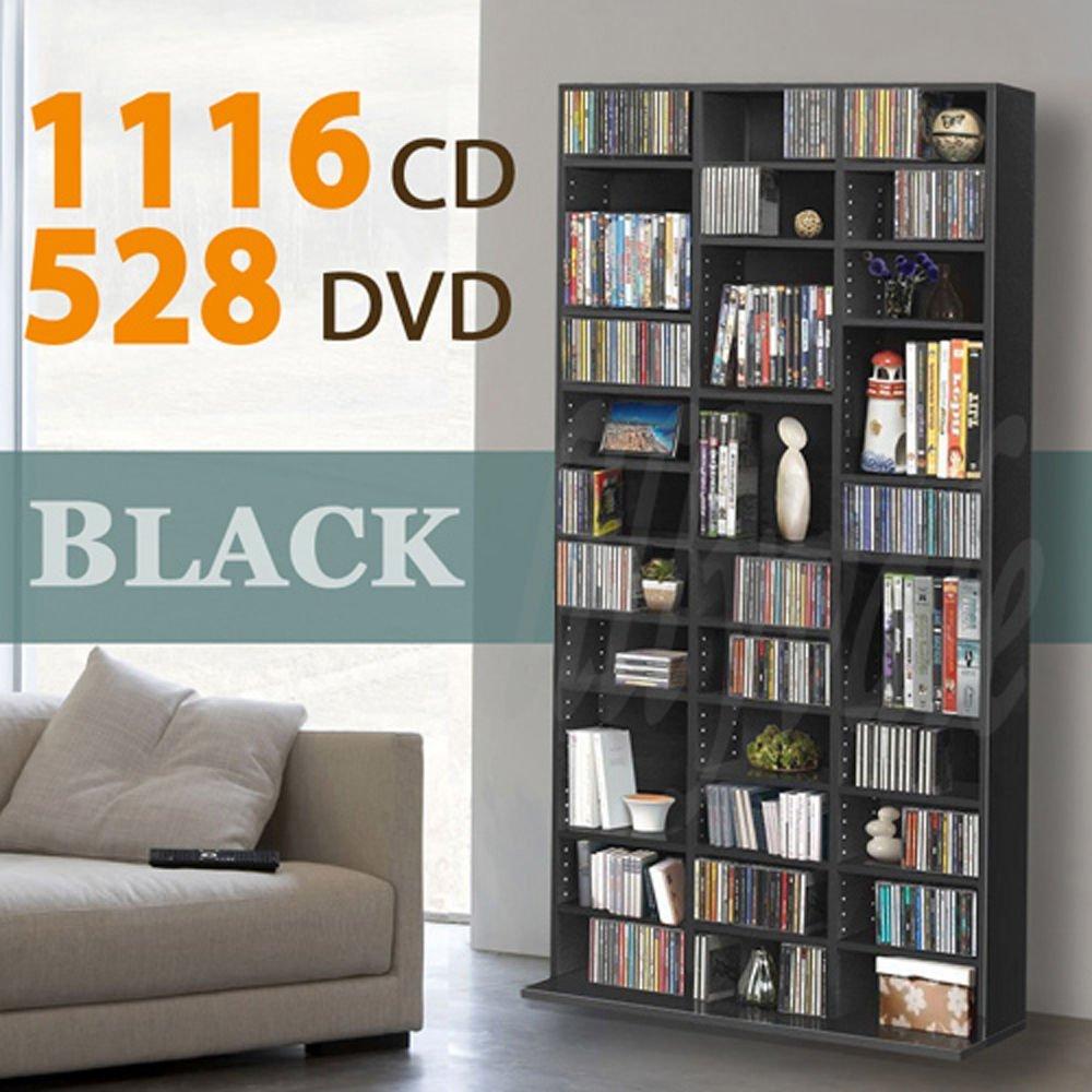 1116 cd/528 dvd storage shelf rack unit adjustable book bluray video  games(black): YDBXMVZ