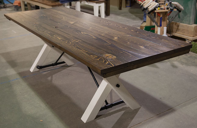 8u0027 trestle table top: stained dark walnut (distressed) / base: distressed  ivory HQDVGSY