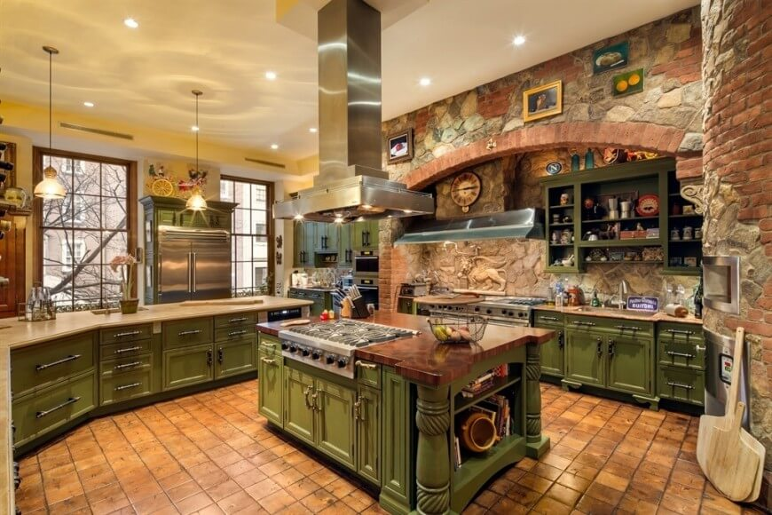 a brick and stone rustic kitchen with a wealth of distressed green WFDAOFY