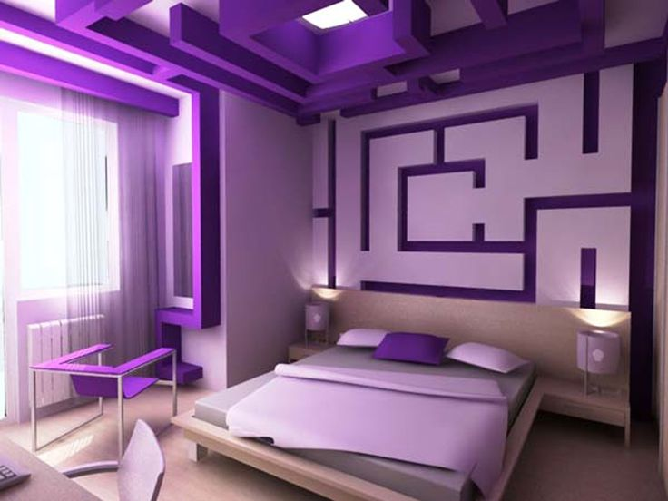 a collection of purple bedroom design ideas : romantic themed purple modern BFDJUEJ